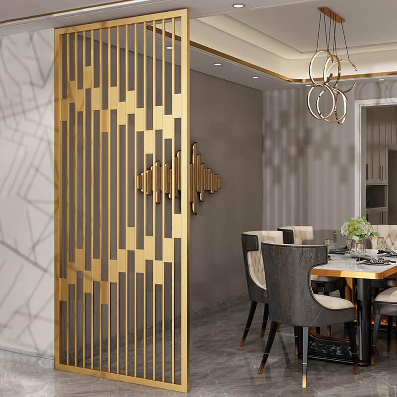 别墅饭厅发纹黄金色不锈钢屏风