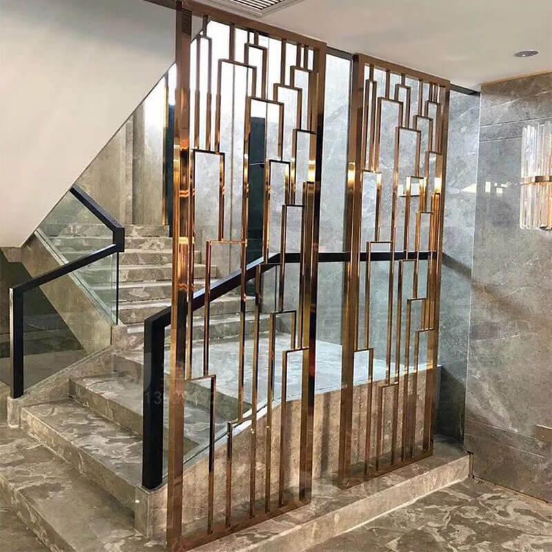 别墅楼梯玄关红铜镜面不锈钢屏风