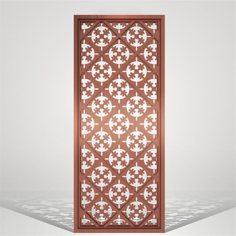 红古铜拉丝不锈钢花格隔端屏风