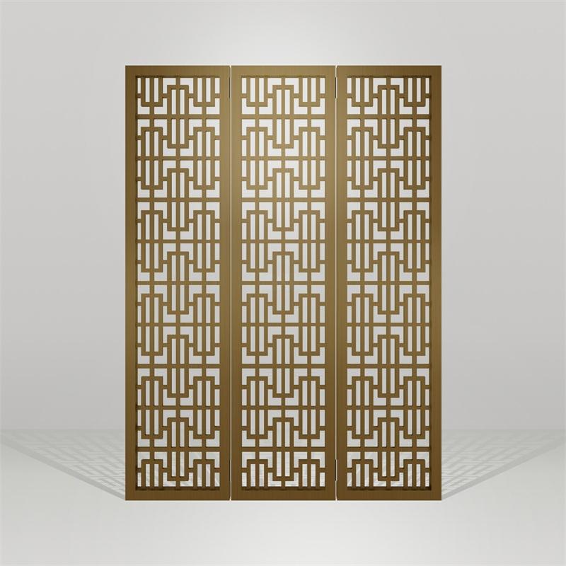 不锈钢黄古铜折叠花格隔断屏风