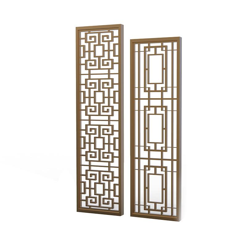 电镀拉丝青古铜金属不锈钢中式古典花格屏风背景墙