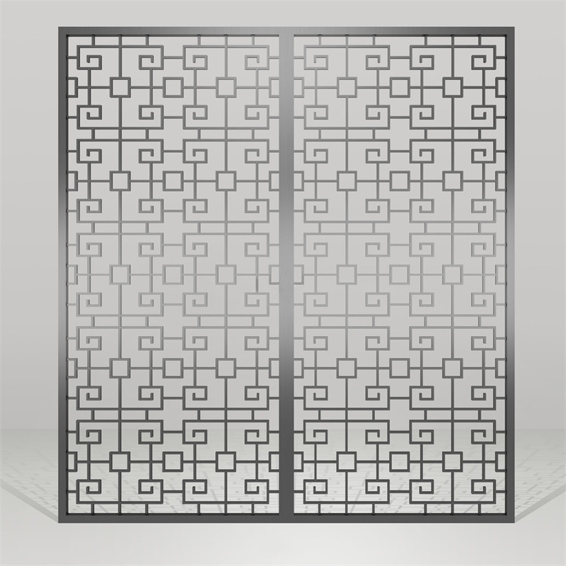 高档会所黑钛金不锈钢镂空雕花屏风隔断