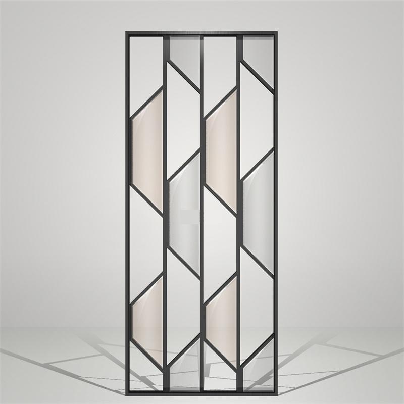现代简约金属不锈钢艺术玻璃隔断屏风