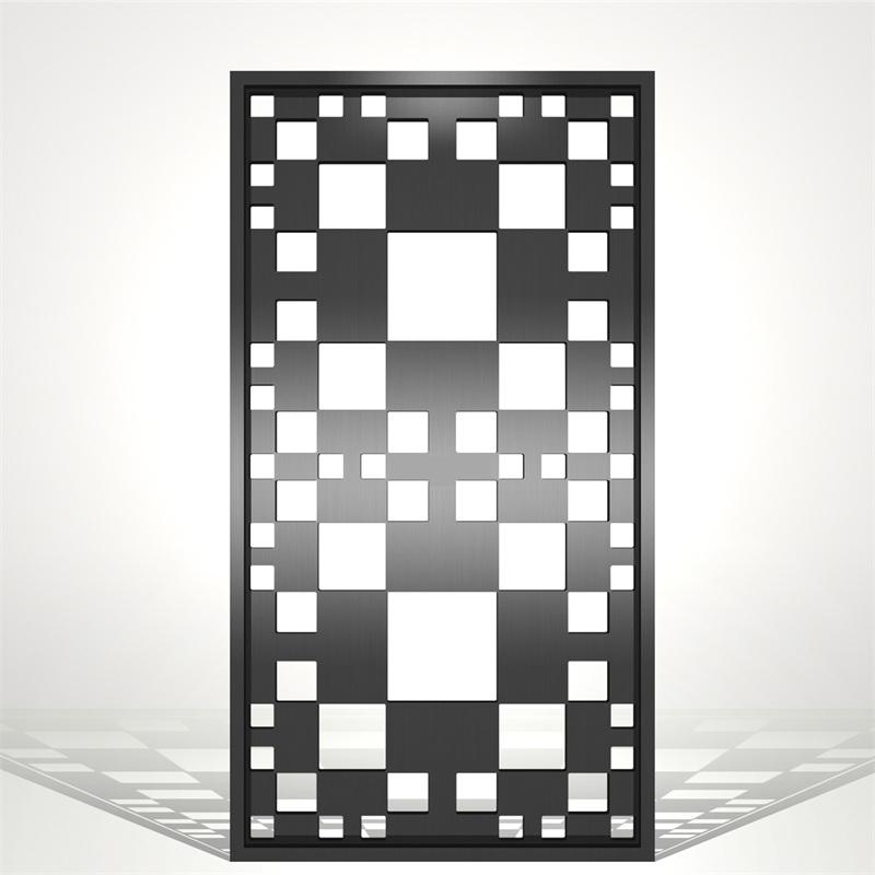 会议室现代简约黑钛镜面不锈钢屏风