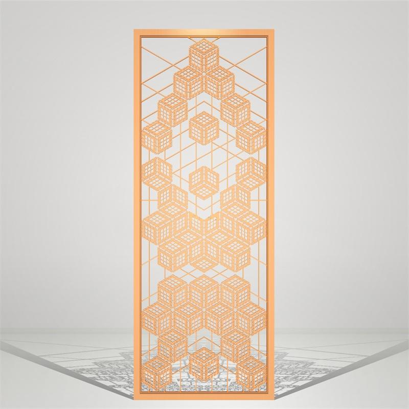现代简约几何图形镂空不锈钢屏风