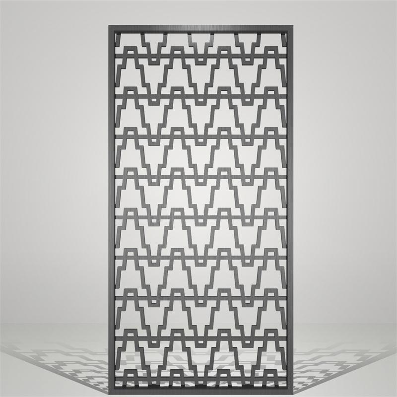 中式黑钛拉丝不锈钢屏风
