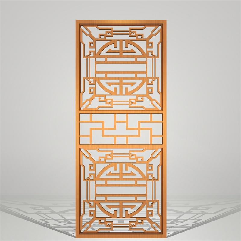 中式风格金色不锈钢屏风玄关