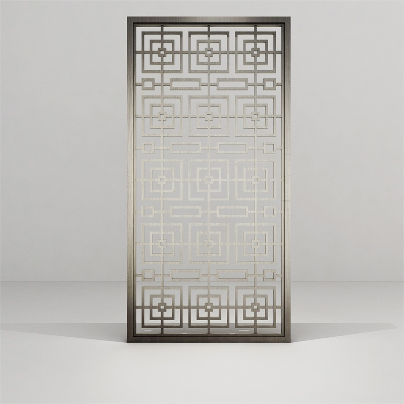 中式回字形拉丝不锈钢屏风