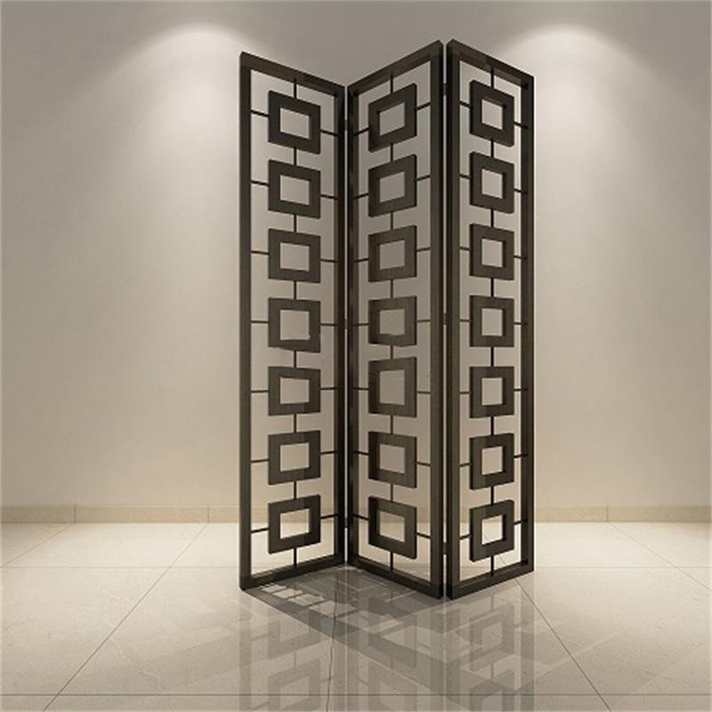 中式青古铜不锈钢折叠屏风
